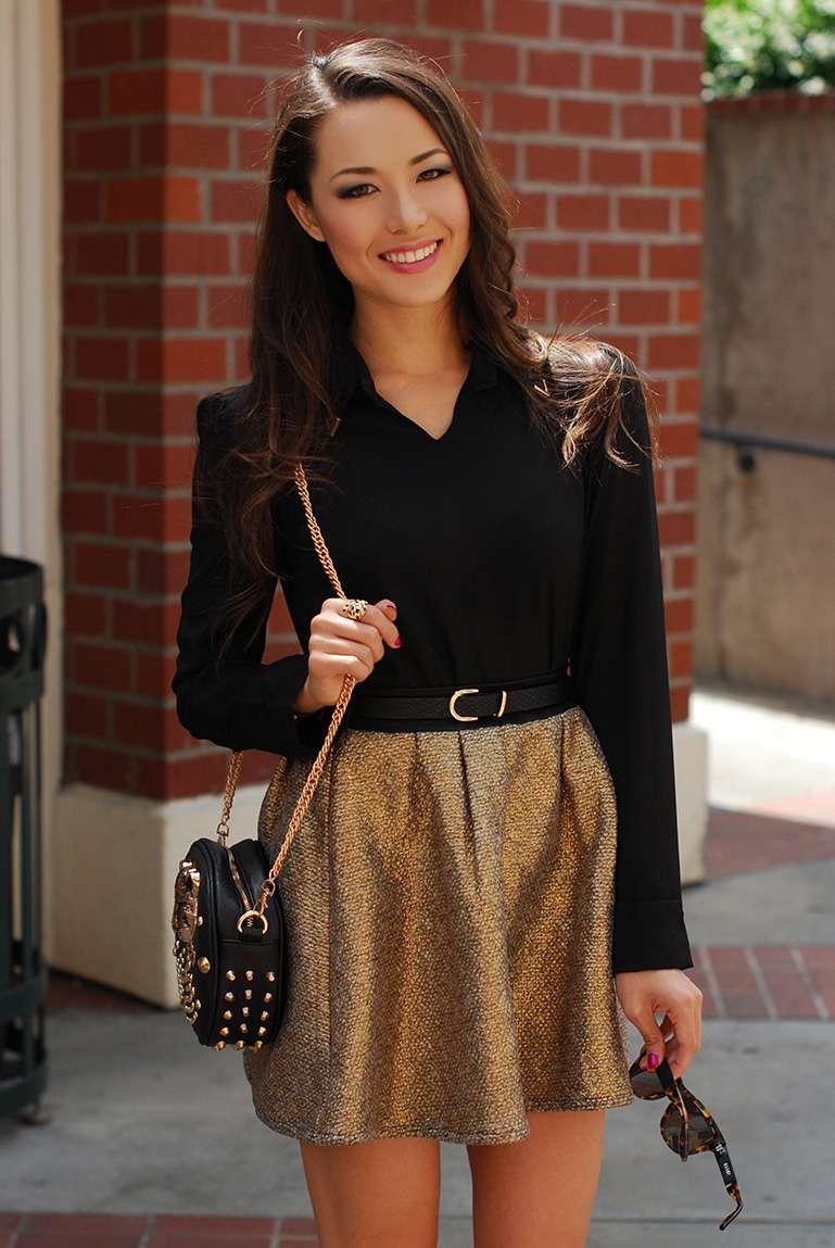 fashion fashion blogger hapatime california fashion fashion trends 2013 hapa happa gold circle skirt gold tweed keyhole top,