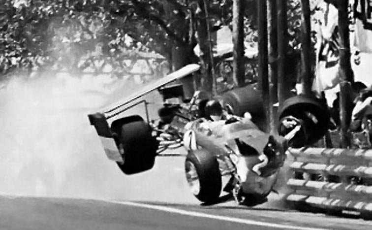 Jochen Rindt suffers an accident in 1969 Spanish Grand Prix at Montjuic