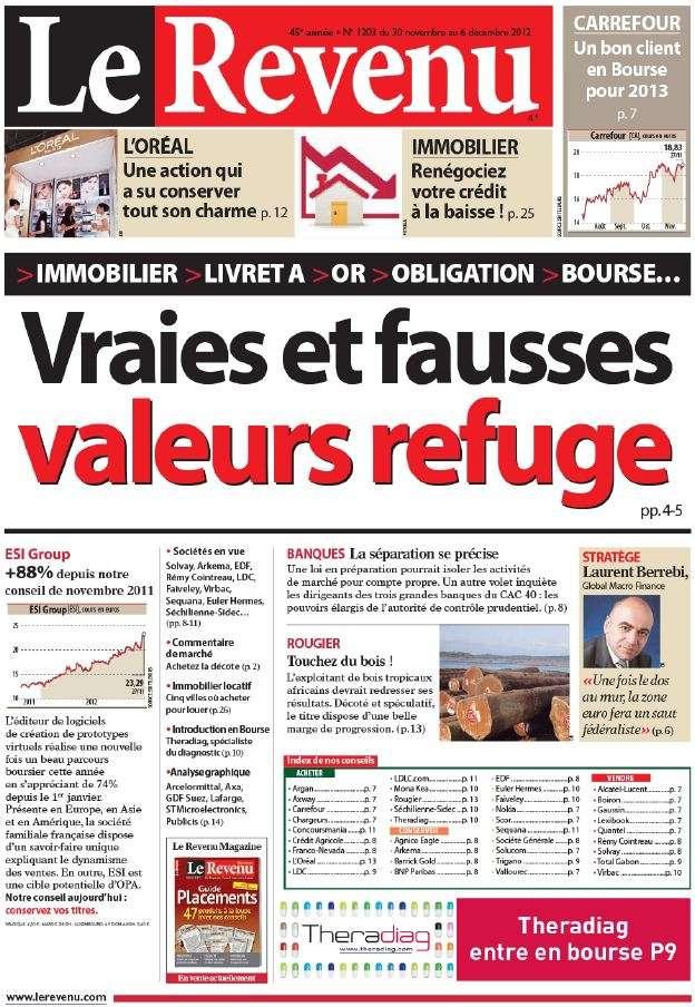 Le Revenu Hebdo Bourse N°1203 du 30 Novembre au 6 Décembre 2012
