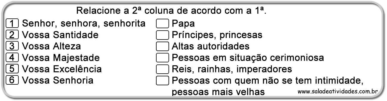 Excepcional Atividades de pronomes pessoais e tratamento para imprimirSala de  NJ12