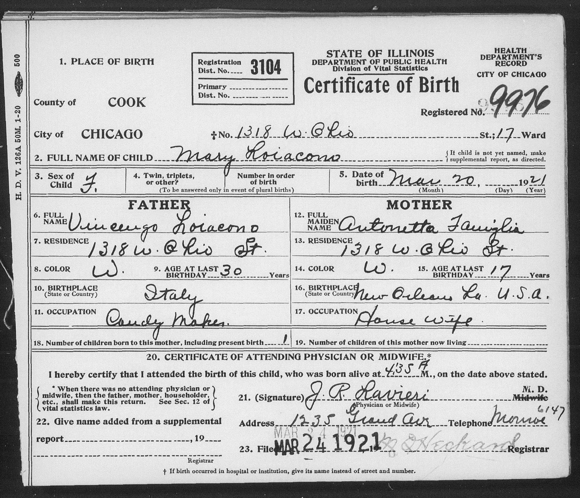 Italiangenealogy antoinette famiglioa family for everyones reference the daughters birth record from 1921 with antoinettes maiden name 1betcityfo Image collections