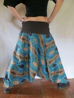 Sarouel ethnique vetements hippie baba cool africain roopa turquoise ebay - Vetements hippie baba cool ...
