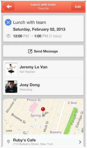 Sunrise Calendar app for iPhone