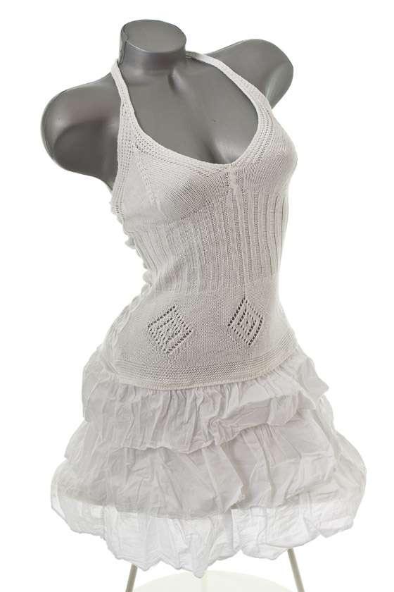 neu s sses sommer strand neckholder kleid tunika weiss 36 38 40 ebay. Black Bedroom Furniture Sets. Home Design Ideas
