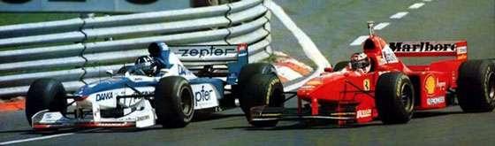 F1 1997 Hungary GP - Damon Hill overtakes Michael Schumacher