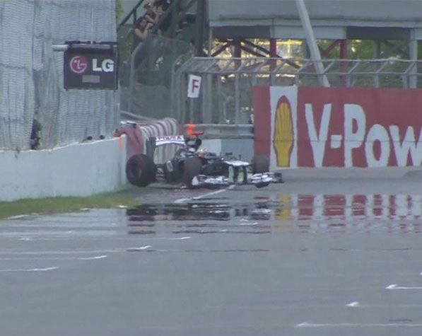 F1 2012 Canadian GP Qualifying Day The 'Wall of Champions' claims another victim as Pastor Maldonado loses control of his Williams and hits it hard