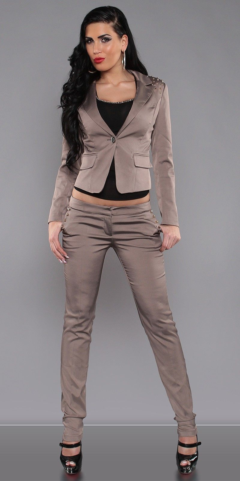 sexy damen business kost m nieten blazer hose gr 36 38 40 42 ebay. Black Bedroom Furniture Sets. Home Design Ideas