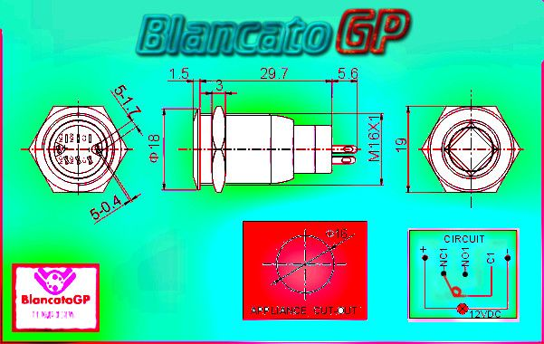 blancatogp switch spst flat high blue round rotondo pulsante interruttore