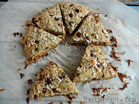 Gluten Free Pomegranate and Coconut Scones. Has no refined sugars or dairy. Bakes in less than 20 minutes!
