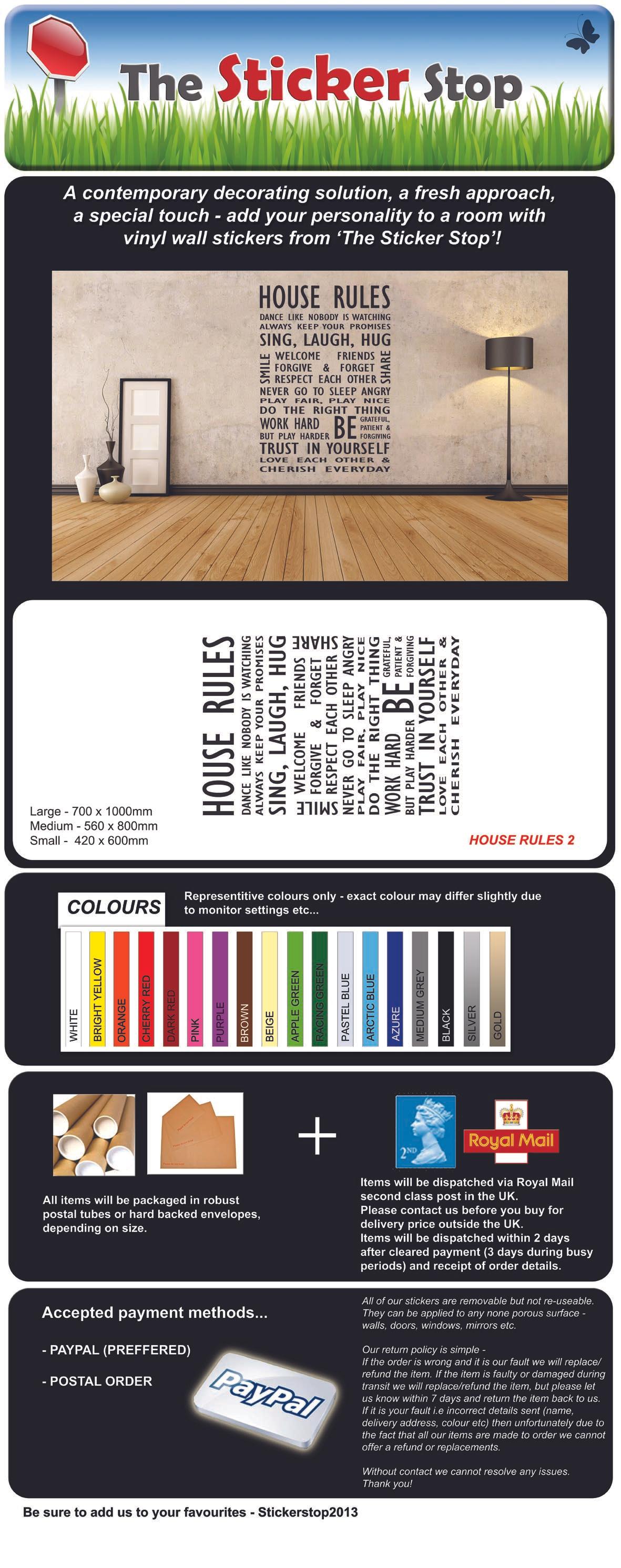 Famiglia regole della casa 2 adesivo da parete contemporanea for Piani casa contemporanea per lotti stretti