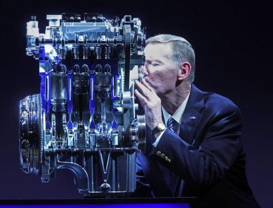 Ford CEO Alan Mulally kissing 1.0 EcoBoost engine