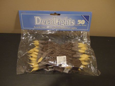Primitive Christmas String Lights : Primitive Silicone Christmas Tree Lights - Set of 50 with Brown Cord