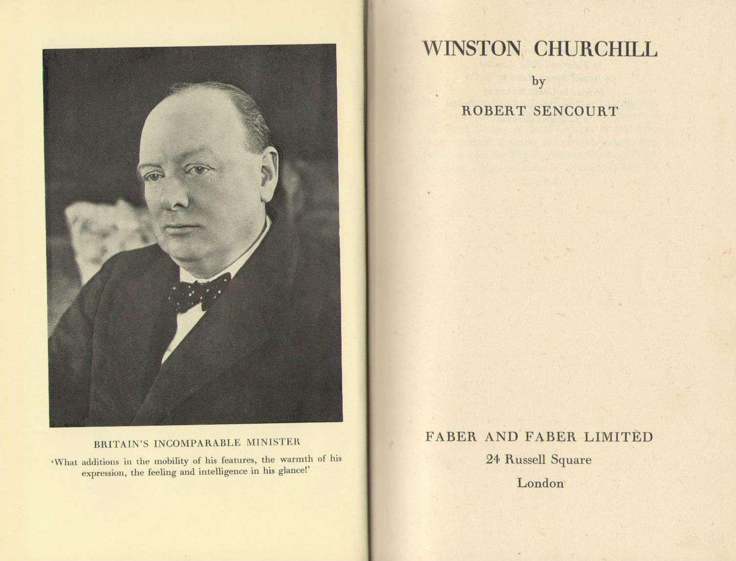 WINSTON CHURCHILL., (Winston Churchill) SENCOURT, Robert.