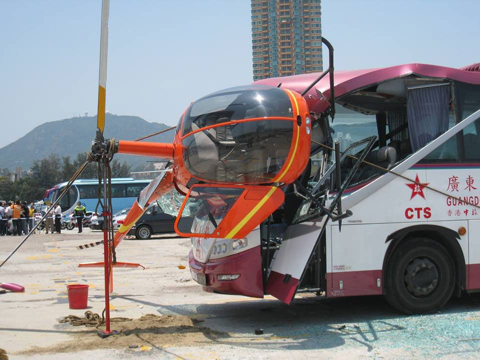 Bus crashes into helicopter