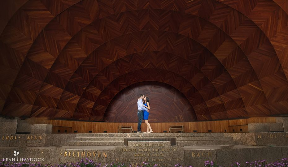 Engaged couple in Hatch Shell in Boston