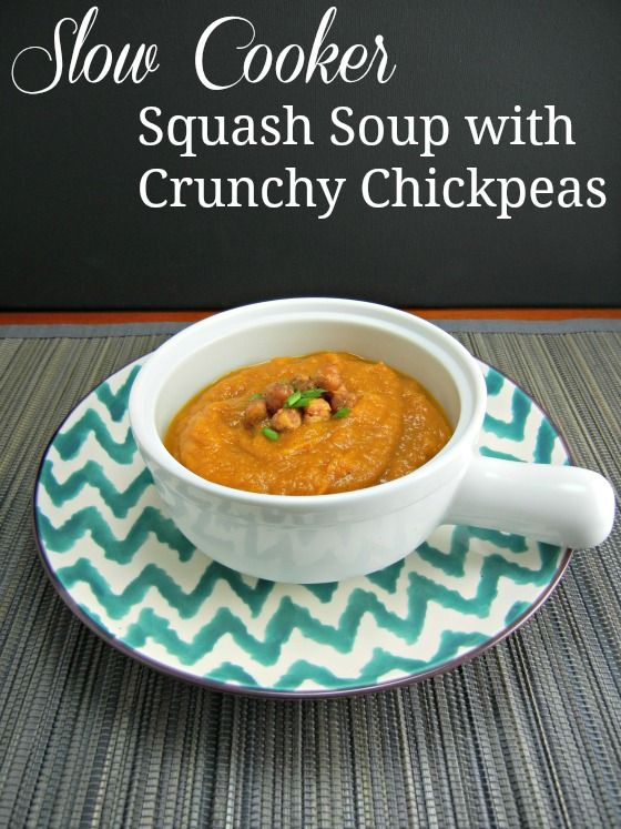 Slow Cooker Squash Soup with Crunchy Chickpeas on thetastyfork.com
