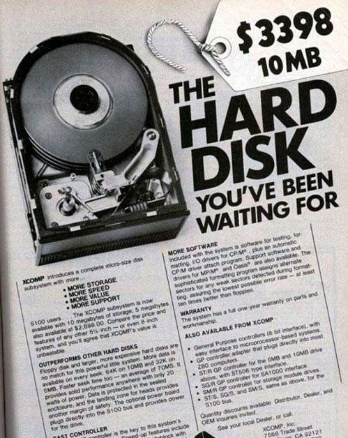 The $3398 10MB XCOMP Hard Disk. The hard disk you've been waiting for.