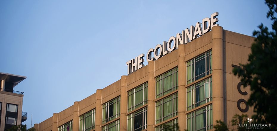 The Colonnade Hotel Boston Sign against a blue sky