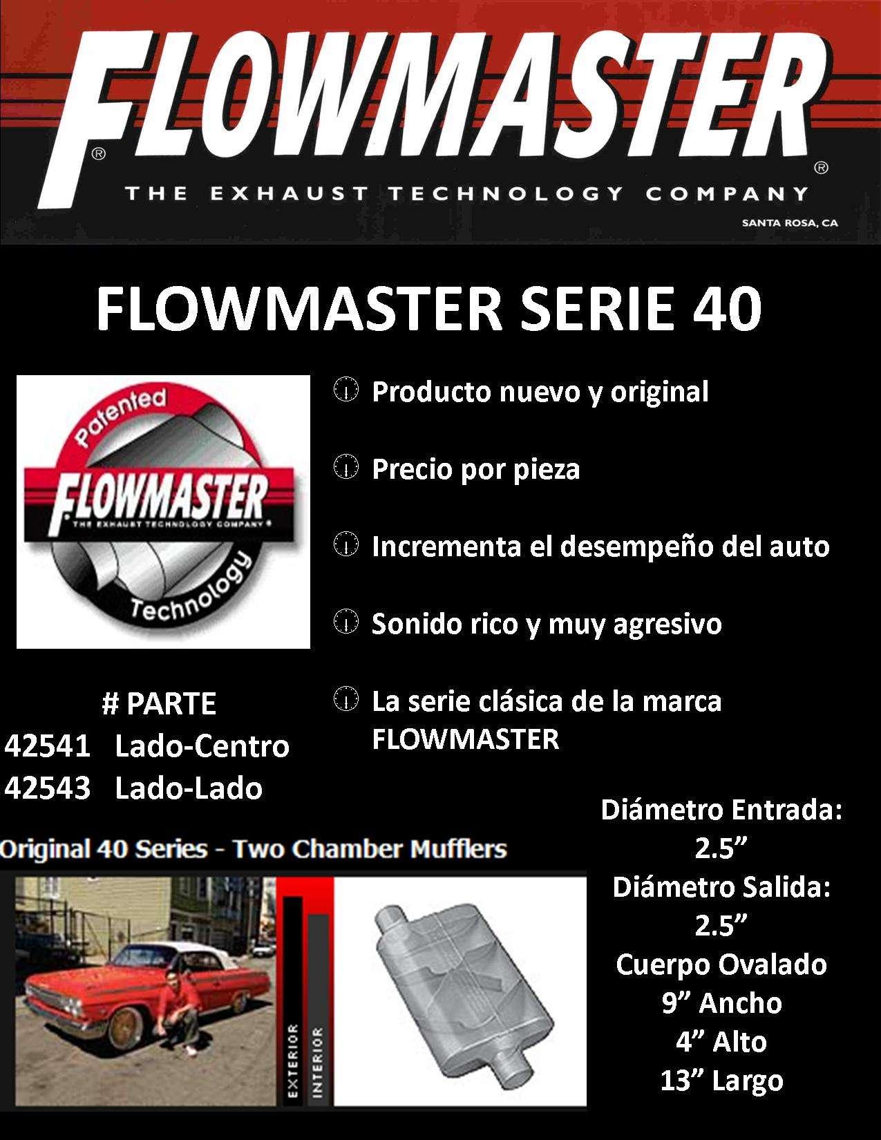 flowmaster serie 40 escape mofle muffler exhaust
