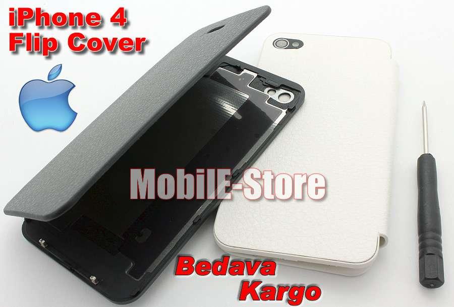 Apple iphone 4 arka pil kapaklı flip cover kılıf apple iphone 4