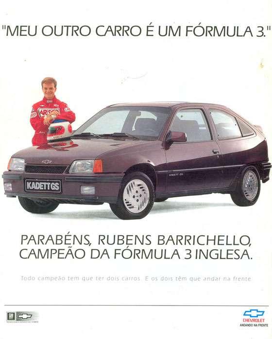 """""""Meu outro carro é um Fórmula 3."""" Parabéns, Rubens Barrichello, campeão da Fórmula 3 Inglesa. Todo campeão tem que ter dois carros. E os dois têm que andar na frente."""