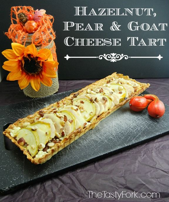 Hazelnut, Pear and Goat Cheese Tart on thetastyfork.com. It's a beautiful & sophisticated fruit tart recipe.