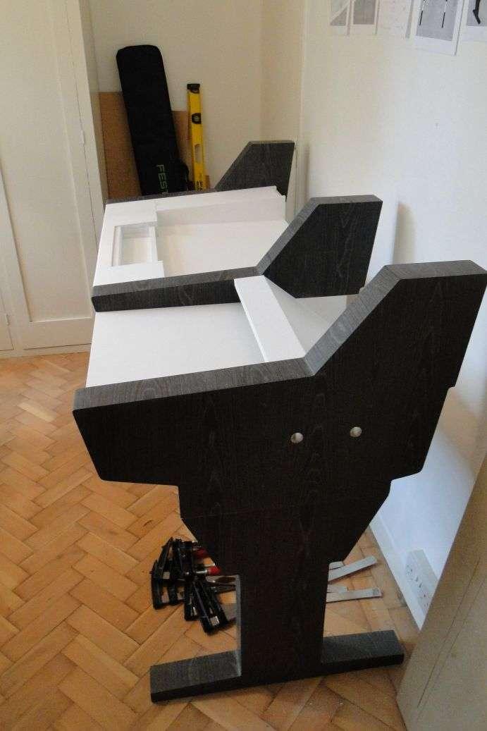diy fully custom built studio desk b w. Black Bedroom Furniture Sets. Home Design Ideas