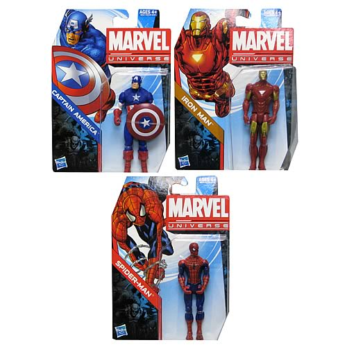 Marvel Universe Spiderman, Capitan America, Iron Man
