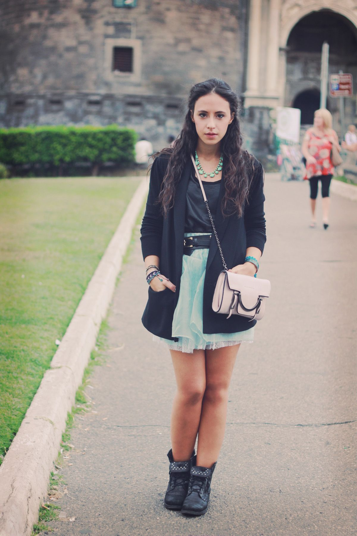 mint skirt and rock booties outfit