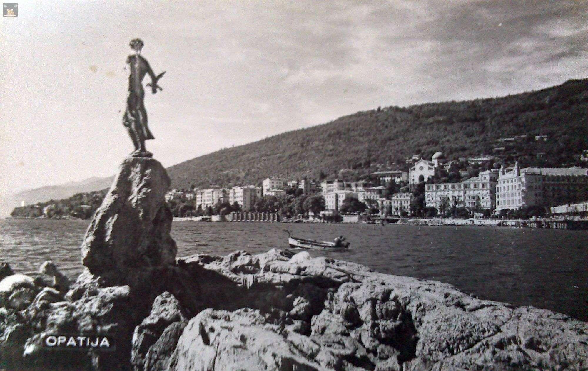 djevojka s galebom opatija kip