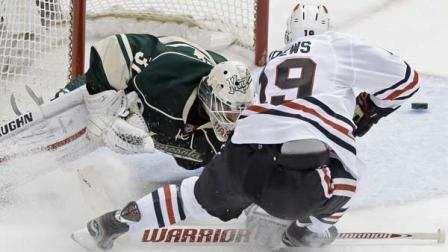 The Chicago Blackhawks beat the Minnesota Wild 5-1 to advance to the second round of the NHL playoffs.