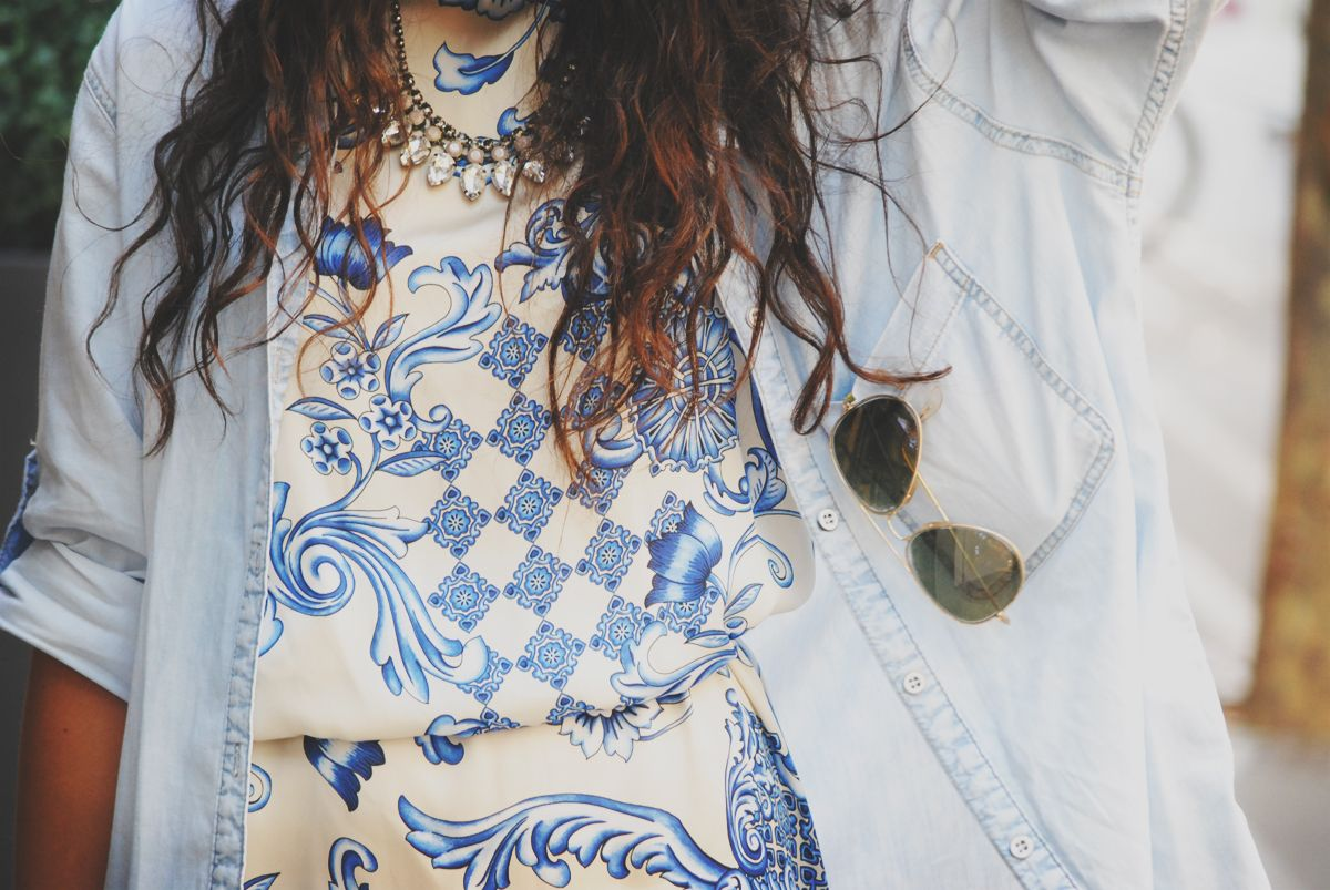 printed blue dress casual