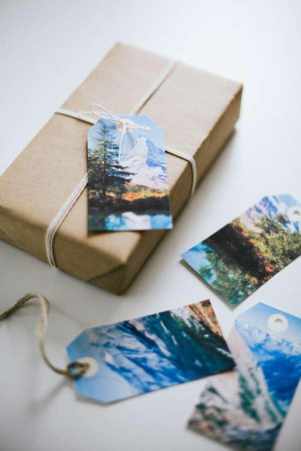 25 idées d'emballage cadeau par CocoFlower - étiquette photo montagne