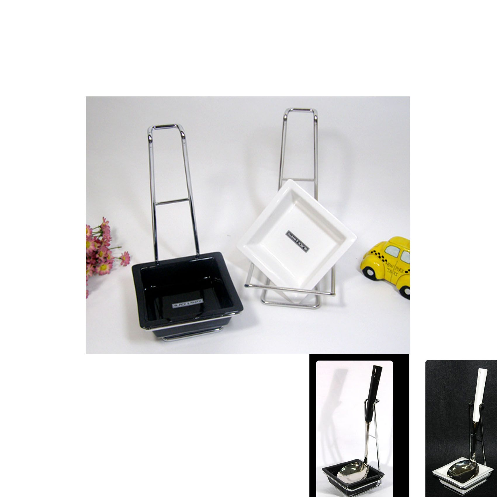 Black Amp White Ceramic Ladle Stand Spoon Rest Cooking Spoon