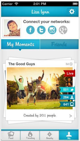 Moment.me event-based photo sharing app