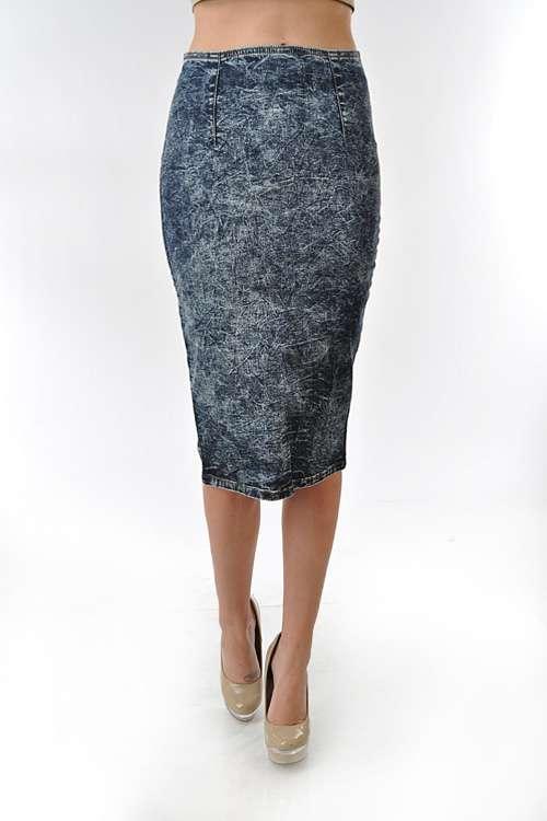 d28 new blue high waist acid wash denim jean pencil skirt