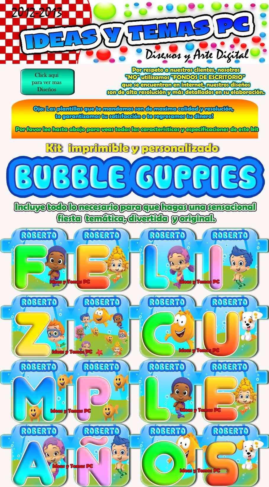 Kit Imprimible Fiesta Infantil Bubble Guppies A Solo   100
