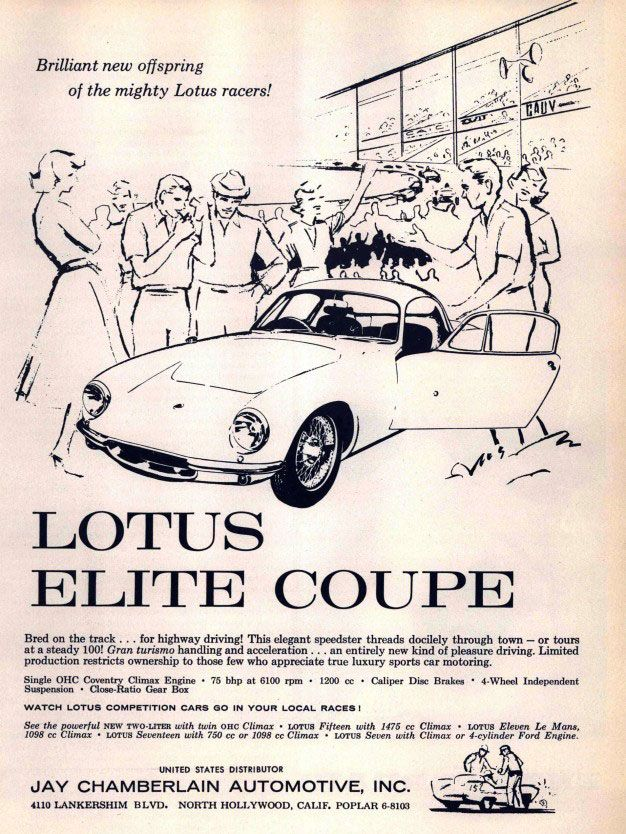 Lotus Elite Coupé. Brilliant new offspring of the mighty Lotus racers!