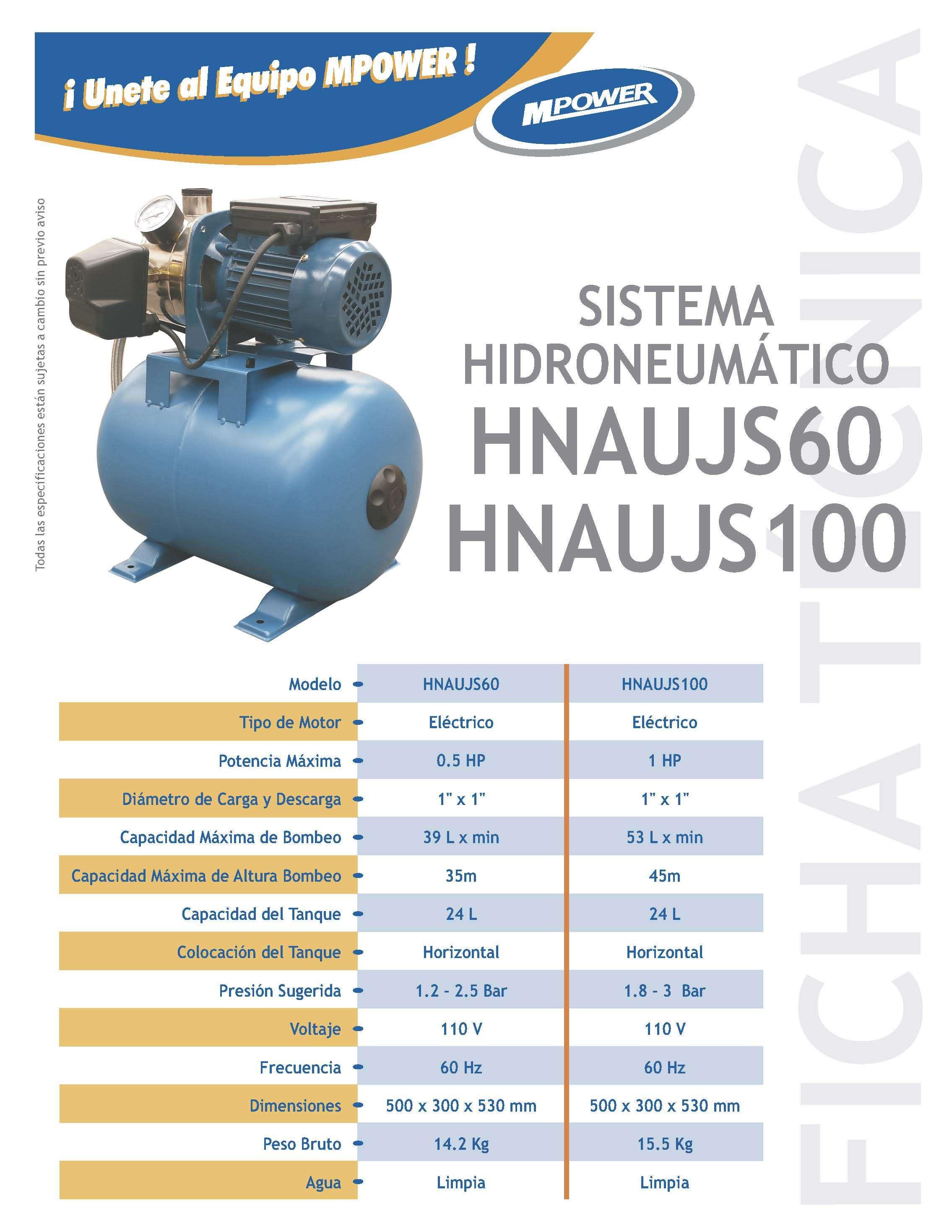 Bomba tipo jet 0 5 hp 110v para hidroneumatico mpower for Precio de hidroneumatico