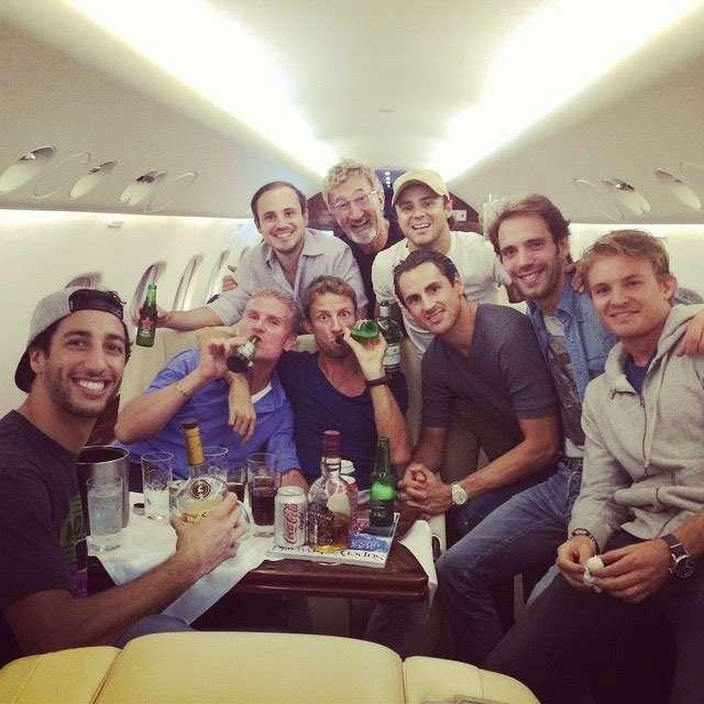 F1 2014 Russian GP Felipe Massa, Jean-Eric Vergne, Nico Rosberg, Daniel Ricciardo, Jenson Button, Adrian Sutil, David Coulthard, Eddie Jordan, Dudu Massa