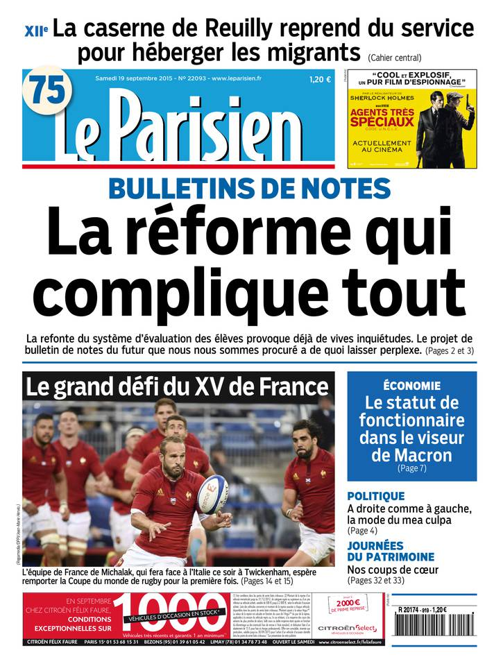 Le Parisien + Journal de Paris du Samedi 19 Septembre 2015