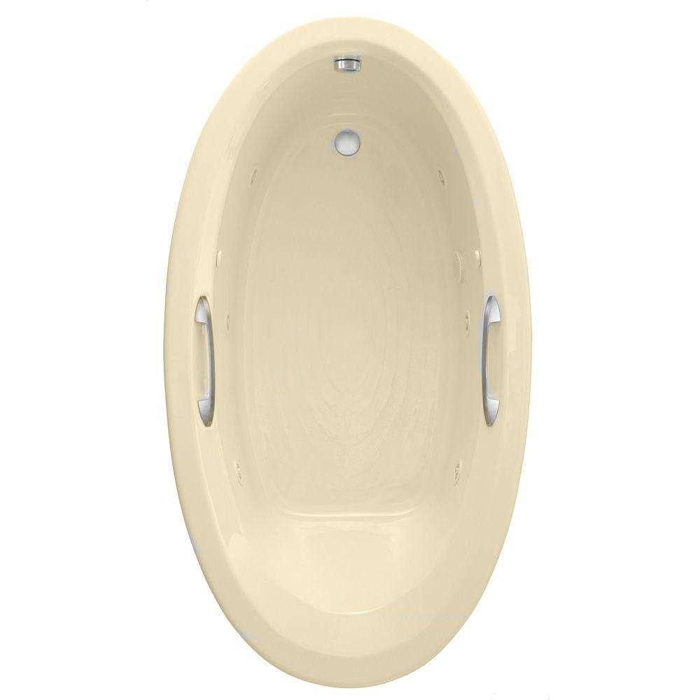 American Standard American Standard 2709.448WC.K2.021 Ellisse Oval EcoSilent 5.83' Whirlpool and Air Bath Tub in Bone