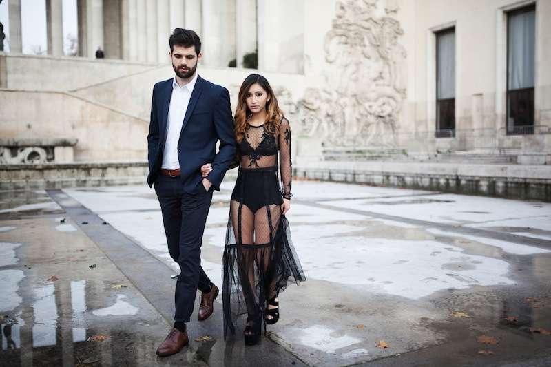 robe longue en dentelle fête blog mode paris