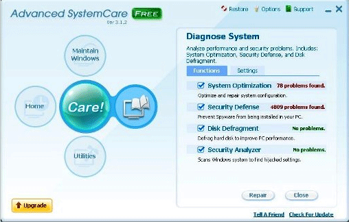 Verwijder Geavanceerde PC Care