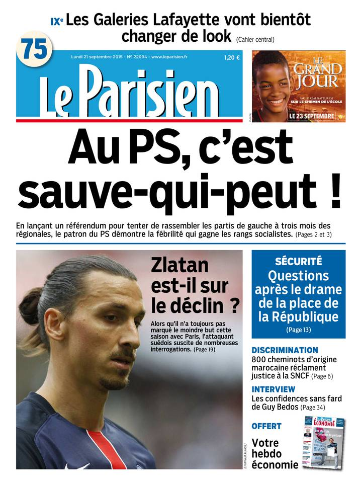Le Parisien + Journal de Paris du Lundi 21 Septembre 2015