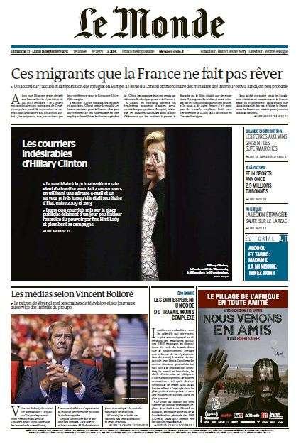 Le Monde du Dimanche 13 et Lundi 14 Septembre 2015