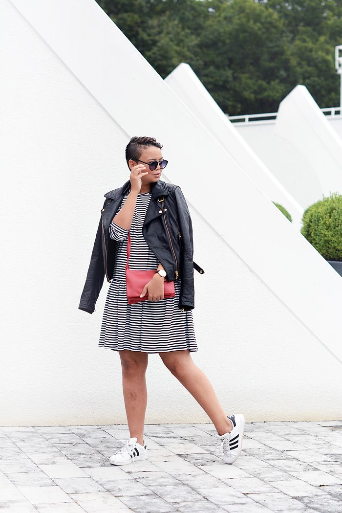 stripes all over / leather jacket / drop waist striped dress / red trio bag / adidas superstar sneakers - justlikesushi.com