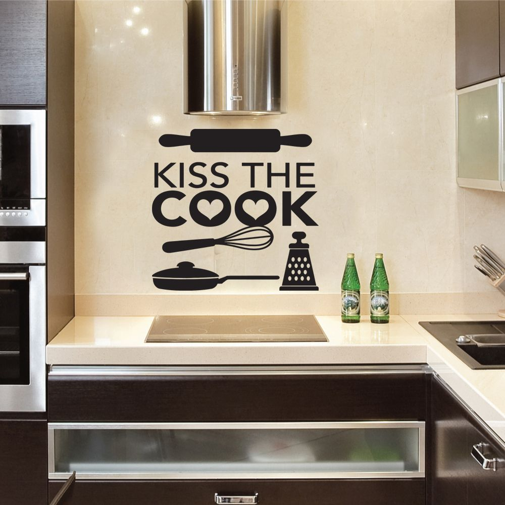 Kitchen kiss the cook quote wall stickers art dining room for Ebay dining room wall art