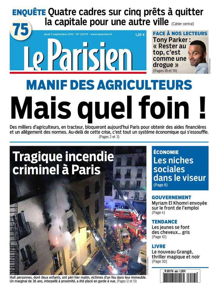 Le Parisien + Journal de Paris du Jeudi 3 Septembre 2015