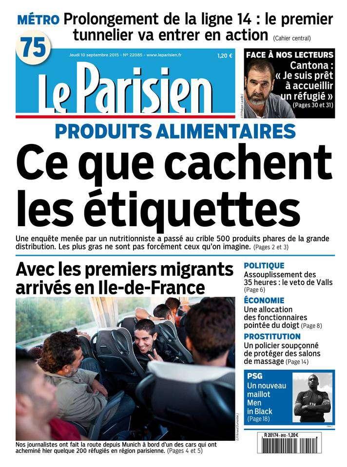 Le Parisien + Journal de Paris du Jeudi 10 Septembre 2015